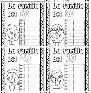Números familia del 10 al 90 - preescolar y primaria