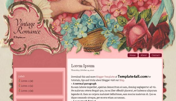 Free Pink Vintage Blogger Template
