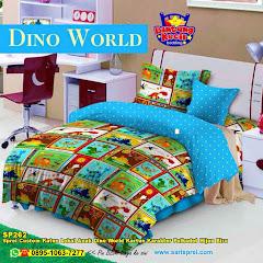 Sprei Custom Katun Lokal Anak Dino World Kartun Karakter Polkadot Hijau Biru