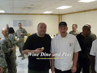 Wine Dine And Play with actor James Gandolfini from the sopranos in Afghanistan 2010