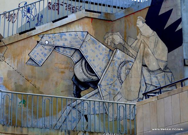 Śródmieście warszawskie murale Warsaw Wybrzeże Kościuszkowskie most