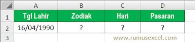 Cari Zodiak dengan Excel