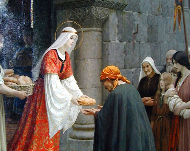 Santa Isabel de Hungria fazendo caridade aos pobres