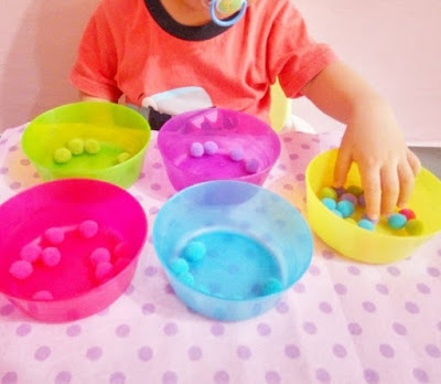 pom pom colour sorting activity for toddler