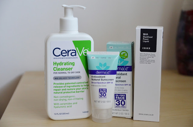 cerave hydrating cleanser derma e sunscreen