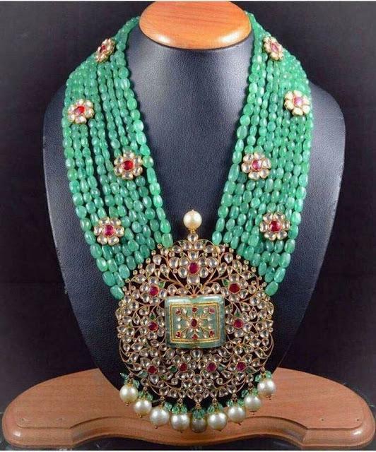 Polki Pendant with Multi Layer Emeralds