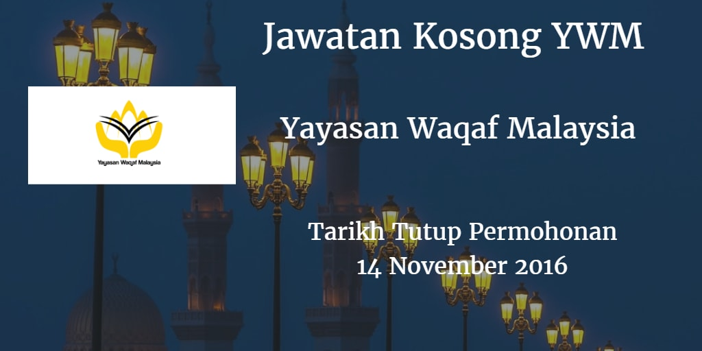 Jawatan Kosong YWM 14 November 2016