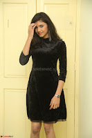 Mounika in a velvet short black dress for Tick Tack Movie Press Meet March 2017 105.JPG
