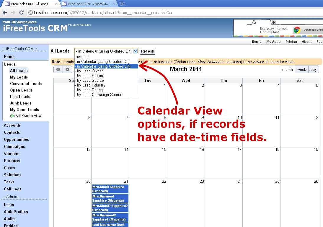 iFreeTools Blogs: What's Cooking : Calendar Views in your Online