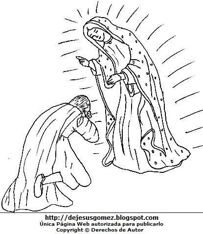 Dibujo de la Virgen de Guadalupe para colorear pintar imprimir, cuando se le apareció a San Juan Diego Cuauhtlatoatzin. Dibujo de la Virgen de Guadalupe hecho por Jesus Gómez