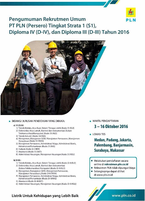 Rekrutmen Umum PLN Tingkat S1/DIV/DIII Tahun 2016