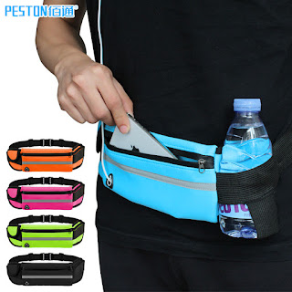 Unisex Waterproof Sport Running Waist Pouch Gym Bag With Three Compartments