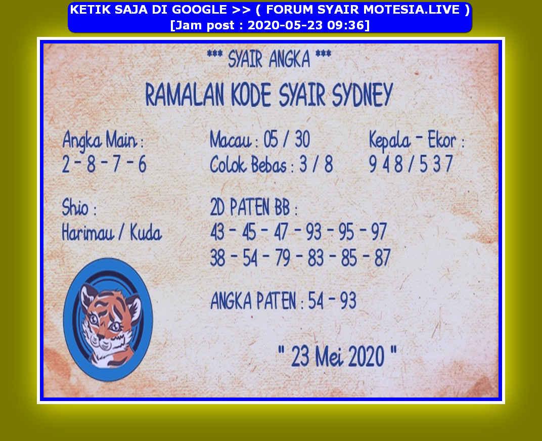 Kode syair Sydney Sabtu 23 Mei 2020 123