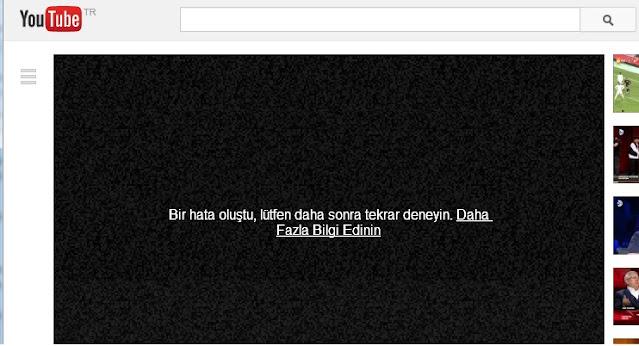 Youtube'daki Bir hata oluştu.Lütfen daha sonra tekrar deneyin sorunları