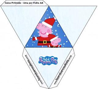 Caja con forma de pirámide de Peppa Pig en Navidad.