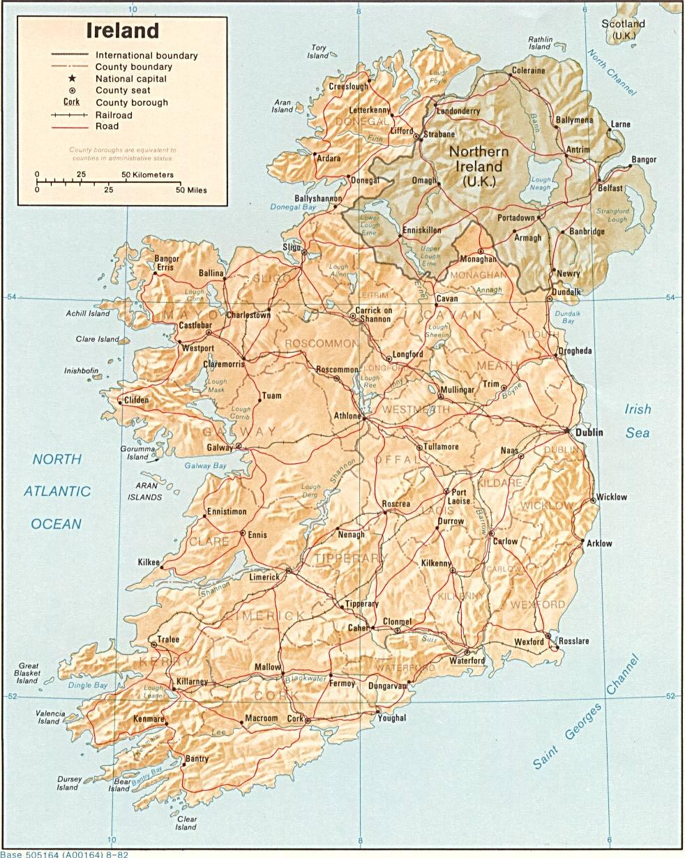 Kaart Landen Noord Europa Kaart Ierland En Dublin Ierse Zee