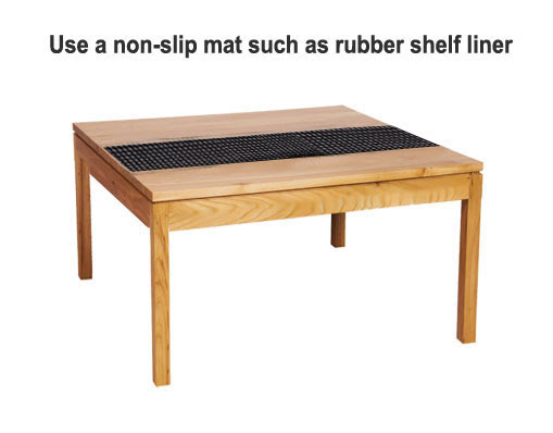 Use Rubber Shelf Liner To Keep Tablecloths from Sliding