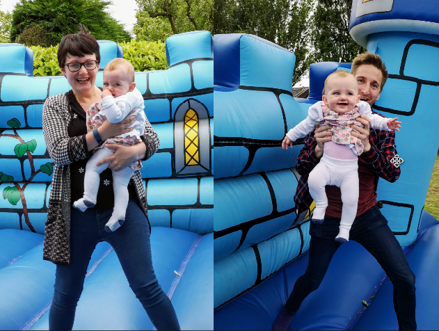 Mummy, Daddy and Daughter on a bouncy castle autistic and pregnant autism parenting uk blog