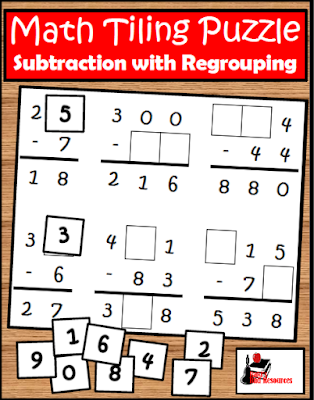Free Subtraction with regrouping puzzle - great review for testing or a math center - free download from Raki's Rad Resources.