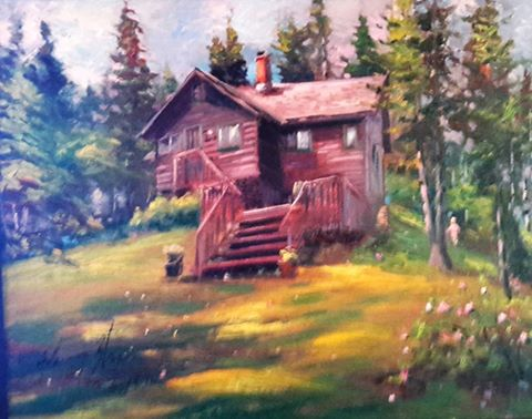 A Beautiful Cottage In Summer Morning Light On The North Shore Of Clear Lake Riding Mountain National Park Painted This Just Few Days Before I