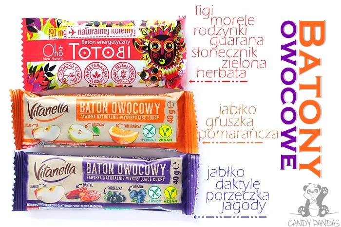Batony owocowe – Vitanella (Biedronka) i baton energetyczny Totobi - Oho Natura