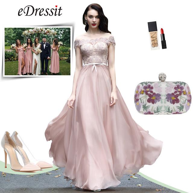 Blush Off Shoulder Lace Prom Dress