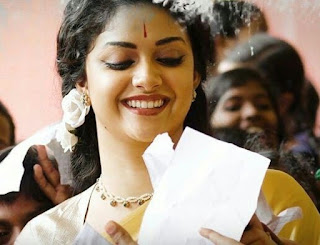 Keerthy Suresh in Saree with Cute and Awesome Lovely Chubby Cheeks Smile in Mahanati