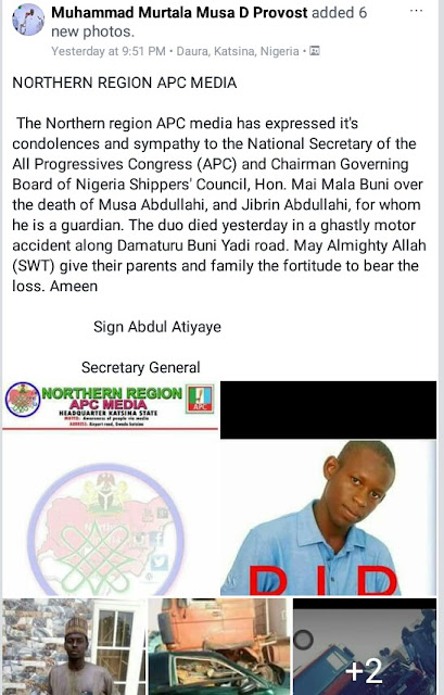 Photos: APC National Secretary, Hon. Mai Mala Buni loses his two young wards in ghastly motor accident