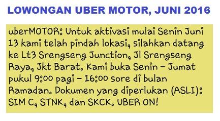 lowongan uber motor juni 2016, lowongan uber motor ramadhan 2016, lowongan uber motor terbaru 2016