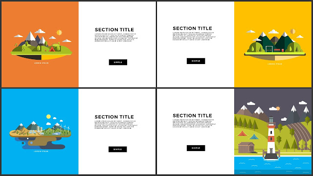 Flat Design Mountains Section Title PowerPoint Template Slide 9-12