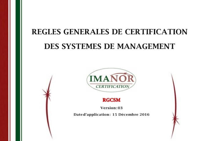 REGLES GENERALES DE CERTIFICATION DES SYSTEMES DE MANAGEMENT (2017)