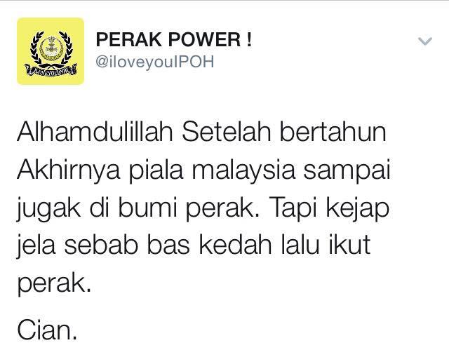 Penyokong Perak Gembira #PialaMalaysia Dijuarai Kedah