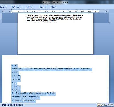 Contoh halaman tertentu yang landscape pada microsoft word