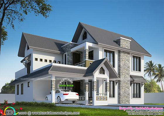 Beautiful sloping roof home