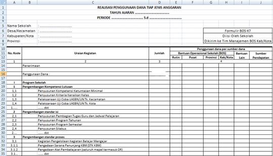 Aplikasi Laporan BOS Format Excel