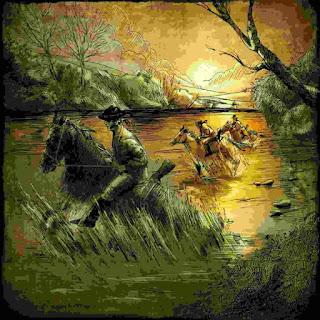 Bandoleros de la época, cruzando un río.