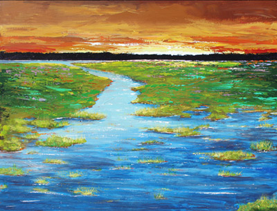 acrylic painting marsh sunset