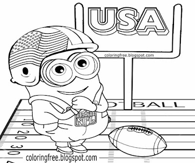 Free Minions printables USA sports coloring sheet for children funny Minion games football clipart