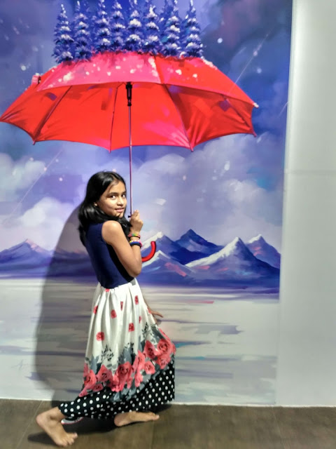 3 Dimensional painting on wall of rain