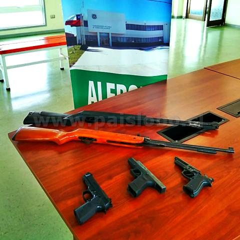 Armas decomisadas Carabineros Alerce