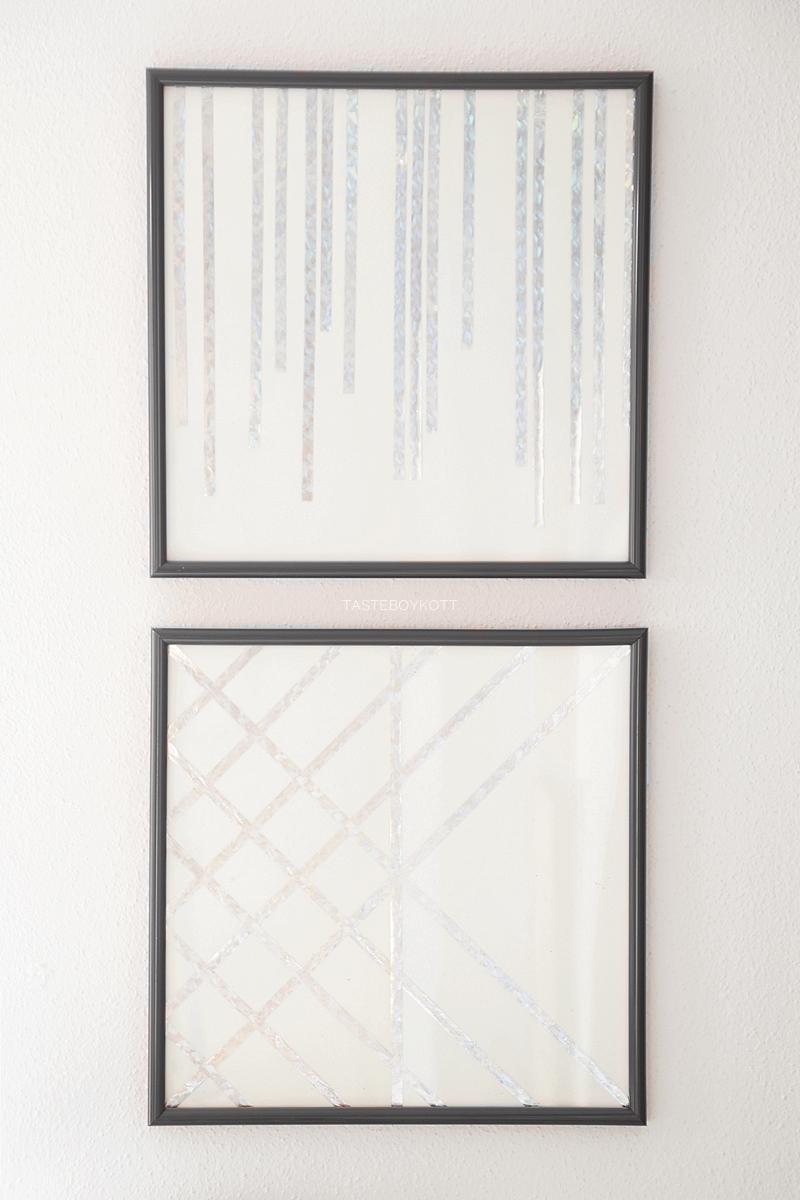 Einfache geometrische günstige DIY-Kunst Upcycling schlichte moderne Wanddeko aus silbernen Metallic-Luftschlangen. Tasteboykott Blog.