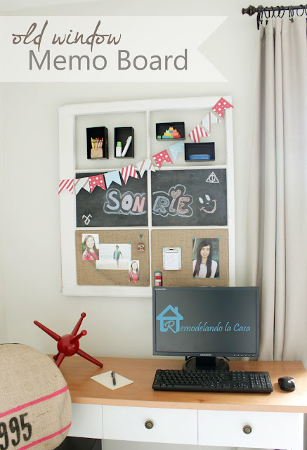 how to transform an old window into a memo board