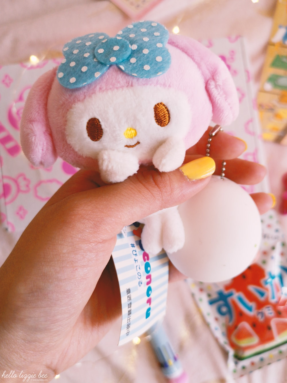 my melody plushie, mochi toy charm