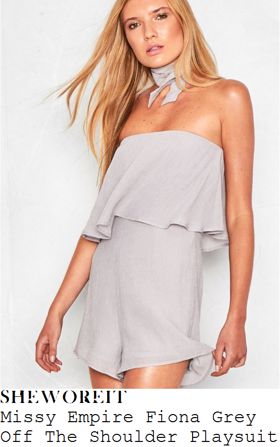 chloe-meadows-missy-empire-fiona-light-grey-off-the-shoulder-bardot-frill-layer-tie-neck-detail-playsuit