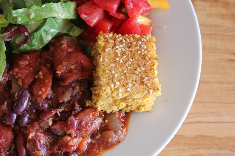 Kidney Bean Chilli with corn bread and peach salsa