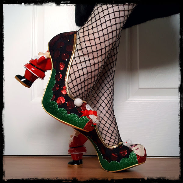 novelty festive heels on feet