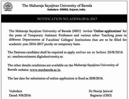 MSU Baroda Recruitment 2016 for Assistant Professors and Teachers