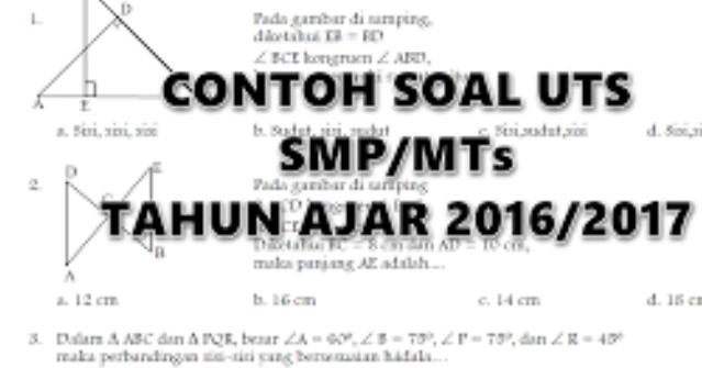 Soal Uts Smp Mts Siap Cetak Super Lengkap Info Guruku