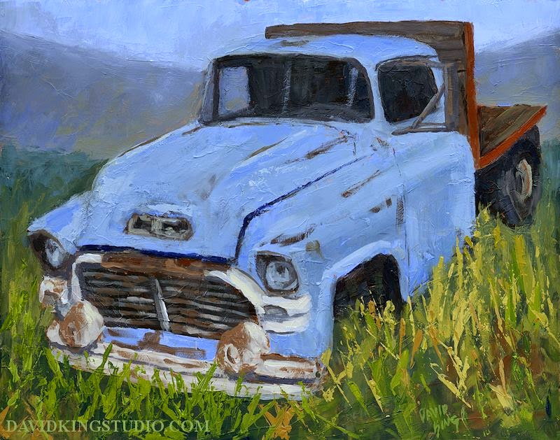 art painting acrylic truck GMC palette knife flatbed