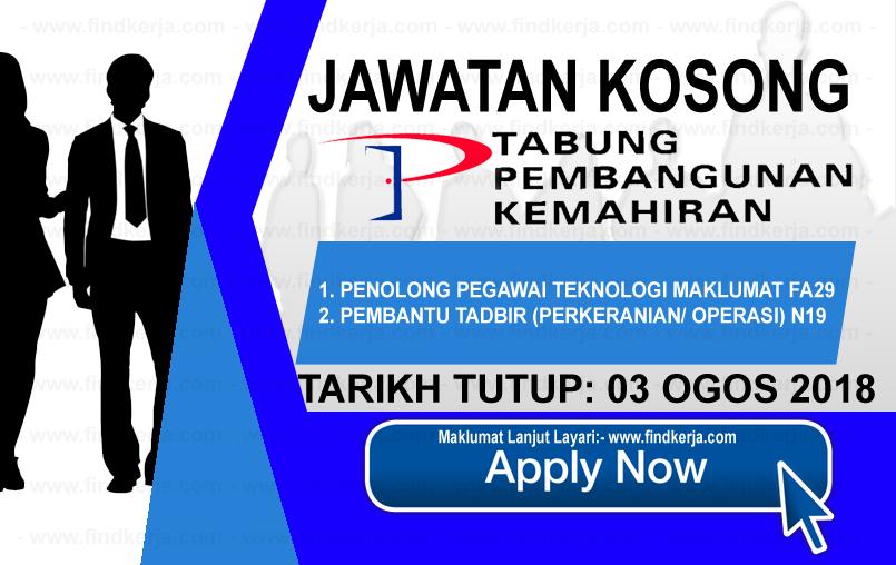 Jawatan Kerja Kosong PTPK - Perbadanan Tabung Pembangunan Kemahiran logo www.ohjob.info www.findkerja.com ogos 2018